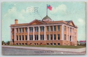 El Reno Oklahoma~Central School~US Flag Flies from Dome~Boys Get $3 a Day~1908