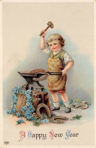 LP26  Postcard New Year's Blacksmith anvil EAS Publisher Gel Finish