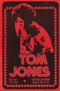 Tom Jones Theatre Go Round Concert New York 1970s Handbill Flyer