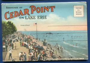Sandusky Ohio oh Cedar Point Lake Erie Point on Lake postcard folder