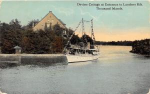 Thousand Islands New York~Devine Cottage @ Entrance to Landons Drift~Ship~1915