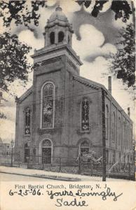 Bridgeton New Jersey~First Baptist Church~Iron Fence around Grounds~1906 B&W PC