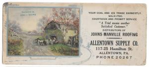 PA Allentown Supply Co Advertising Card Coal Ice John Brown