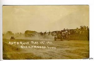 Shenandoah IA Auto Race 1911 RPPC Postcard