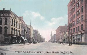 ERIE, Pennsylvania, 1900-1910's; State Street Looking North From Ninth Street, H