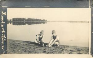 Vintage Bathing Beauties~Lake On Sands of Time Real Photo Postcard~1914 RPPC