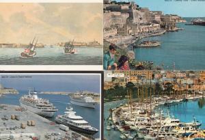 Malta Harbour 4x Ship Boats Liners Postcard s