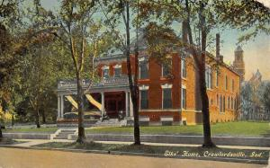 Crawfordsville Indiana~Retired Lodge Members Sit on Porch of Elks Home 6.99