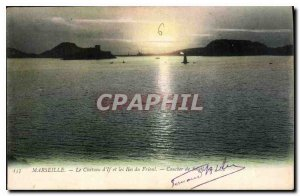 Old Postcard Marseille on Chateau d'If and Ies Friuli Sunset