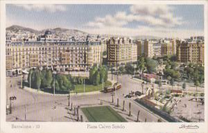 RP; Hand-colored, Plaza Calvo Sotelo, BARCELONA, Cataluna, Spain, 10-20s