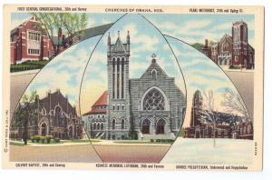 Churches of Omaha NE 1944 Curteich Linen Postcard