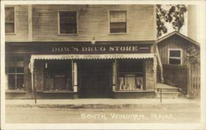 South Windham ME Dow's Drug Store STOREFRONT c1915 Real Photo Postcard