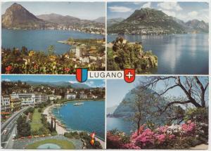 LUGANO, Switzerland, multi view, 1981 used Postcard