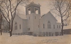 Union Iowa~Snow Drifts Against Trees~Christian Church~Open Belltower~RPPC c1914
