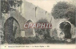 Postcard Ancient ruins Champlieu 77 (Oise) the nave of the church