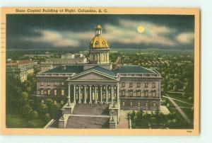 Columbia, South Carolina SC Capitol Building at Night 1951 Linen Postcard