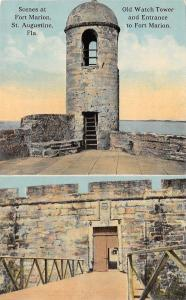 St Augustine Florida~Fort Marion~Watch Tower~Entrance~1950s Postcard