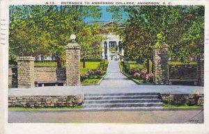 South Carolina Anderson Entrance To Anderson College 1939
