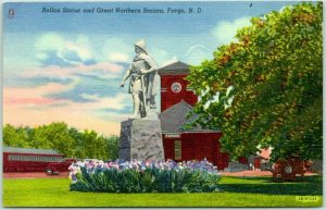 1948 Fargo, ND Postcard Rollon Statue and Great Northern Station Depot Linen