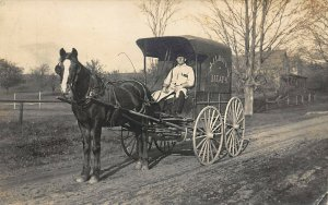 Farmington ME  J. L. Hoyt Meats Salesman Horse & Wagon Real Photo Postcard