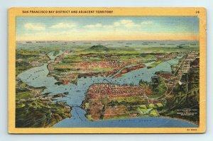 Bay District Adjacent Territory Topographic San Francisco California CA Postcard