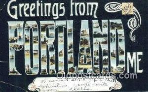 Portland, ME USA Large Letter Town Vintage Postcard Old Post Card Antique Pos...