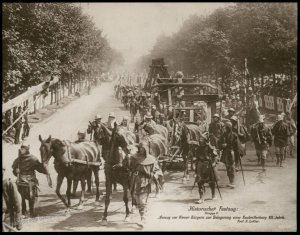 Austria 1908 Kaiser Franz Joseph Huldigungs Festival RPPC Catapult 94837