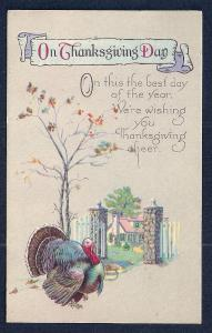 On Thanksgiving Day Turkey unused c1910's