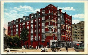 1930s Atlanta, Georgia Postcard HOTEL ARAGON Street Scene Curteich Unused
