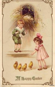 EMBOSSED A HAPPY EASTER CHILDREN & CHICKS 1917