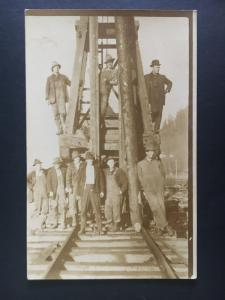 Mint Canada RPPC Postcard Railroad Construction Workers