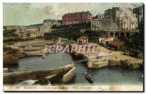 Biarritz - L & # 39Eglise Sainte Eugenie and & # 39Hotel d & # 39Angleterre -...