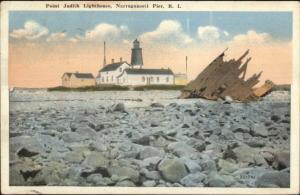 Narragansett Pier RI Point Judith Lighthouse & Wreck Remains c1920 Postcard