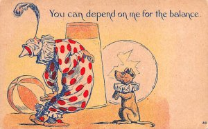 Circus Clown Post Card Comic Clown and Dog 1910