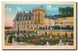 Old Postcard Villandry I and L Le Chateau and Gardens