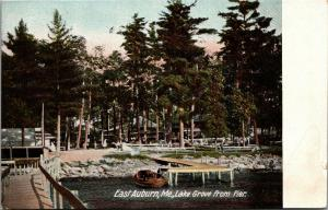 East Auburn Maine~Lake Grove from Pier~Boat at Dock~Rocky Shore~c1910 Postcard