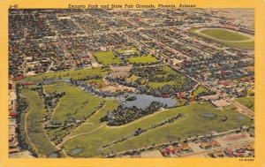 Phoenix Arizona~Encanto Park~State Fairgrounds~Race Track~1951 Linen Postcard