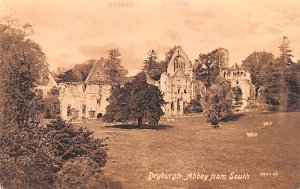 Scotland, UK Old Vintage Antique Post Card Dryburgh Abbey from South Unused