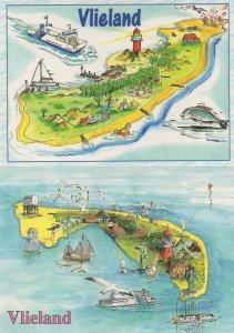 Vlieland Holland Fish Boat 2x Map Postcard s