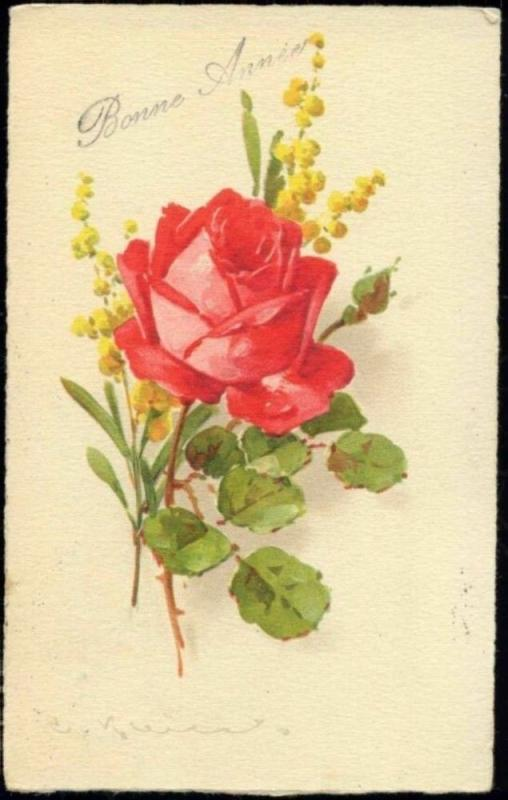 artist signed Catherine KLEIN, Red Rose (1931)