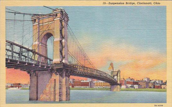 Suspension Bridge, CINCINNATI, Ohio, PU-1953