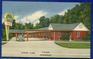 Shamrock Motel Texarkana Texas Arkansas linen postcard
