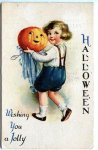 Halloween Ellen Clapsaddle Child JOL Scarce Wolf Postcard