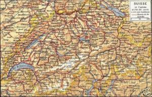 switzerland, 22 Cantons MAP Postcard (1910s)