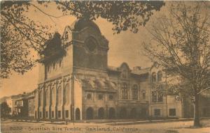 Oakland California~Scottish Rite Temple~1910 Sepia Postcard