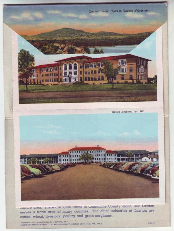 PC67 JLs old postcard lawton ft sill wichita mts foldout