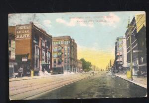 KANSAS CITY KANSAS DOWNTOWN STREET SCENE ANTIQUE VINTAGE POSTCARD STORES