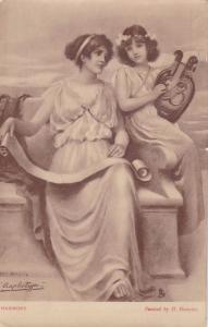 TUCK 2809 , PU-1904 ; Raphotype , 2 Women & harp Harmony