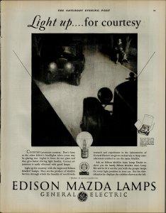 1927 Edison Mazda Lamps Light Up For Courtesy Vintage Print Ad 3906