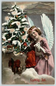 Christmas~Angel Girl Holds Steiff Bear in Clouds~Candle Toy Tree~Colorized 1909